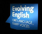 The logo of the Evolving English exhibition