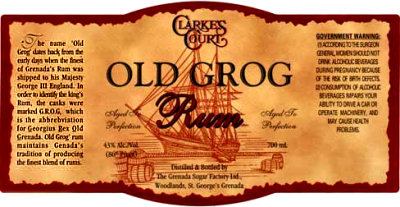 The label of a rum bottle from Grenada containing the incorrect story about the origin of 'grog'