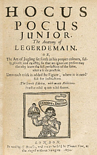 The title page of the fourth edition of Hocus Pocus Junior of 1654