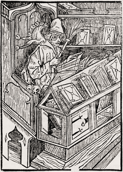 Medieval woodcut of book collector
