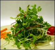 A small heap of microgreens in a glass bowl.