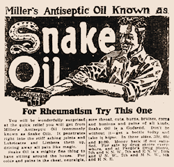 An advert for snake oil