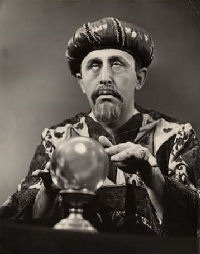 Magician with crystal ball