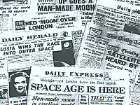 A collage of British newspaper headlines from 4 October 1957 reporting the launch of Sputnik.