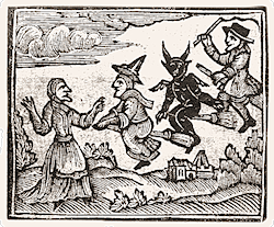 A 17th-century woodcut of a witch and the devil on broomsticks