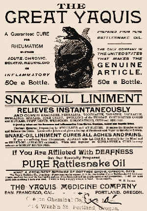 Advert for snake oil